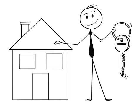 Cartoon stick man drawing conceptual illustration of businessman or real estate agent or broker offer a key and house property. Business concept of real estate agency.
