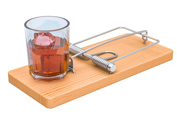 Alcohol Trap concept. Glass with alcohol beverage in the mousetrap, 3D rendering