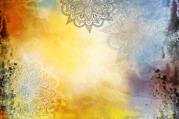 Grunge Mandala Background yellow and orange