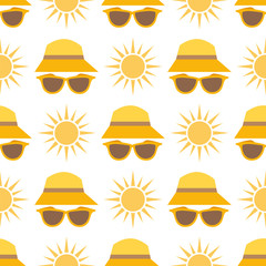 Beach accessories summer hats vector sun fashion beach travel beautiful head protection cap seamless pattern background.