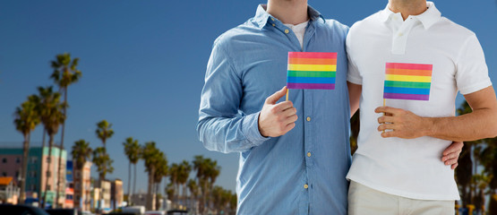 homosexual and gay pride concept - close up of happy male couple with rainbow flags hugging over venice beach in los angeles background