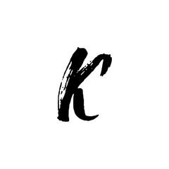 Letter K. Handwritten by dry brush. Rough strokes textured font. Vector illustration. Grunge style elegant alphabet.