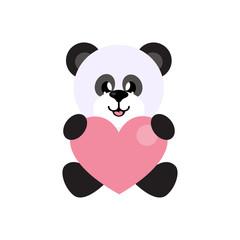 cartoon panda vector sitting with heart