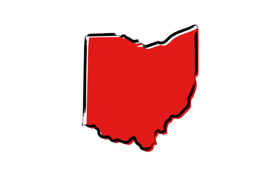 Stylized red sketch map of Ohio
