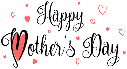 Wall Mural - Happy mother's day calligraphy red hearts