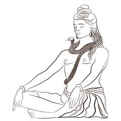Lord Shiva in meditation. Greeting card for Maha Shivratri, a Vector illustration.
