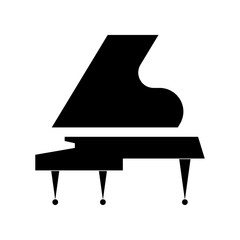 Stylized black Grand piano on a white background. Vector flat design.