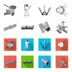 The space station in orbit, the preparation of the launch rocket, the lunar rover on the surface. Space technology set collection icons in monochrome,flat style vector symbol stock illustration web.