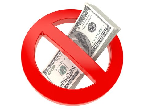 Money inside forbidden sign