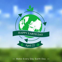 Earth day templates on blurred background