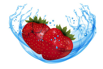 Fresh ripe strawberry with water splash isolated on white background. Vector