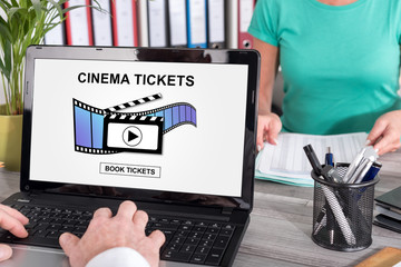 Online cinema tickets booking concept on a laptop