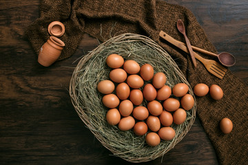 eggs in a basket retro rustic