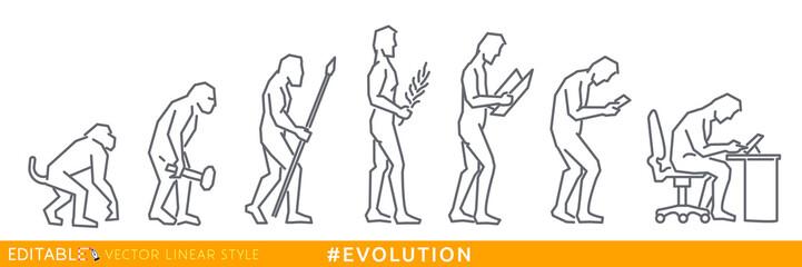 Evolution homo sapiens. Social media evolution. Editable line sketch icon. Stock vector illustration.