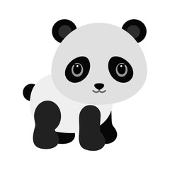 Adorable baby panda in flat style.