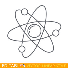 Atom icon. Symbol of science, education, nuclear physics, scientific research. Three electrons rotate in orbits around atomic nucleus. Concept of elementary particles. Editable line sketch icon.