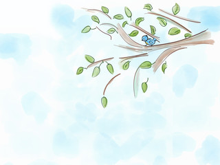 Illustration with bird and tree