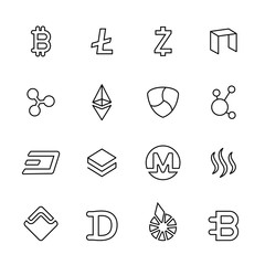 cryptocurrency thin line icon set 2, vector eps10