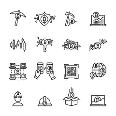 cryptocurrency thin line icon set 3, vector eps10