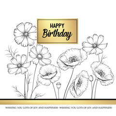 Floral garland of wild flowers on white background. Happy birthday card with text place in the center. Vector illustration.