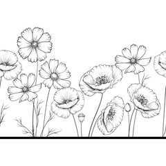 Floral garland of wild flowers on white background.
