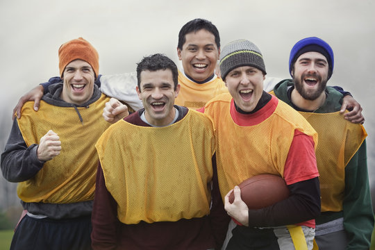 Mixed race group of men who play American Flag Football.
