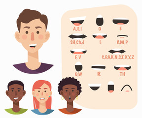 Lip sync collection for animation. Casual man,woman. Flat style vector illustration