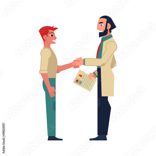 Flat male doctor shaking hand to man patient holding marrow bone
