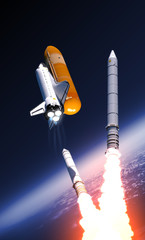 Fotobehang - Space Shuttle Solid Rocket Boosters Separation Over Clouds