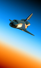 Space Shuttle Landing In Atmosphere