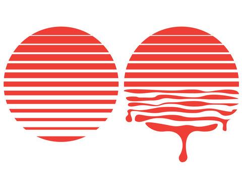 Retro striped sun