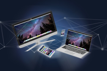 Devices like smartphone, tablet or computer flying over connection network and app- 3d render