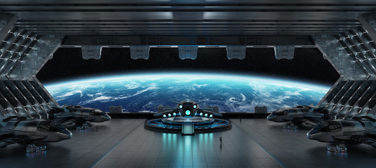 Landing strip spaceship interior 3D rendering elements of this image furnished by NASA