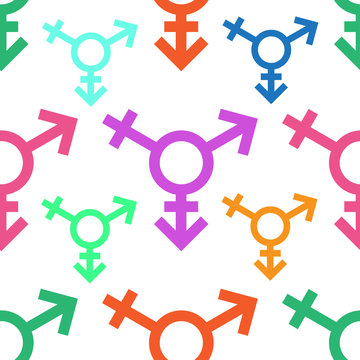 Transgender color symbol vector seamless pattern