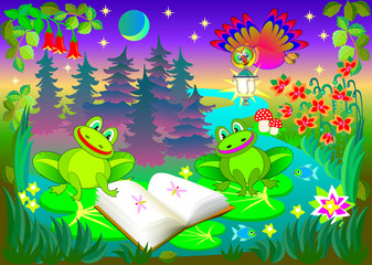 Illustration of little funny frogs reading the book at night, vector cartoon image.