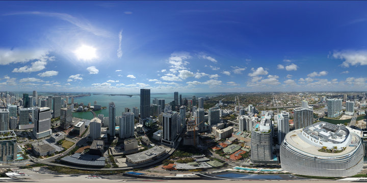 Aerial 360 spherical city panorama Miami Brickell City Heights and Centre