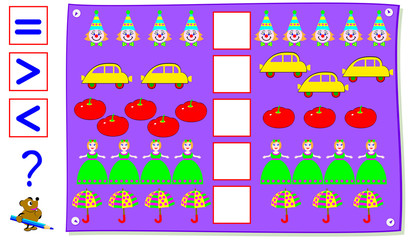 Mathematical exercise for young children. Need to count the quantity of objects and write the correct signs in the squares. Vector cartoon image.