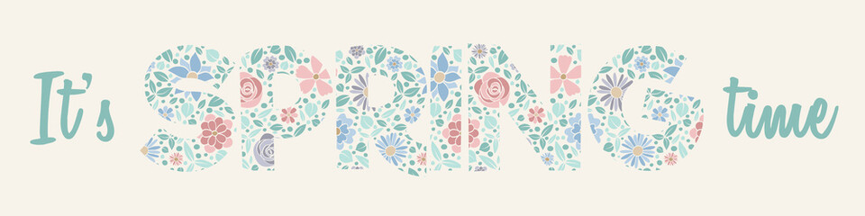 Spring - banner with floral text. Vector.