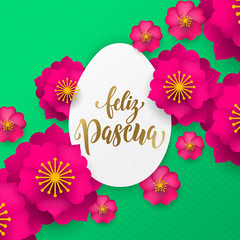 Spanish Happy Easter greeting card of egg paper cut and flowers pattern for Easter Hunt holiday celebration. Vector papercut floral design with gold text for Easter poster or web banner