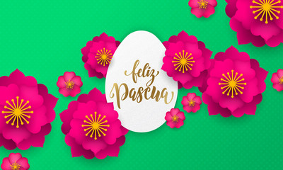 Spanish Happy Easter greeting card of egg paper cut, spring flowers and gold text on floral pattern background for Easter Hunt holiday papercut design
