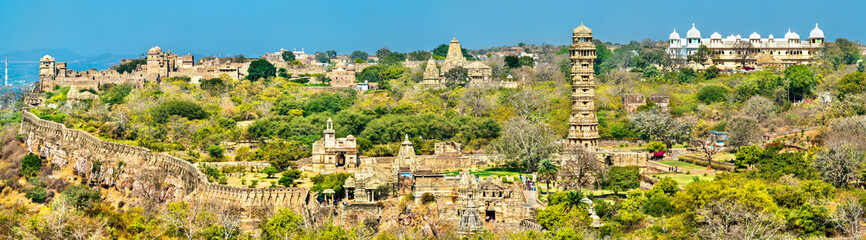 Wall Mural - Panorama of Chittor Fort, a UNESCO world heritage site in Rajasthan, India