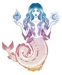 Beautiful magic mermaid girl with heart and moon.