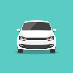 Vector white car isolated. Front view.