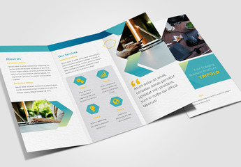 Trifold Brochure with Teal and Green Gradient