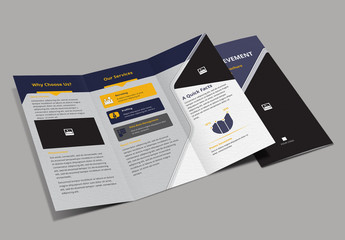 Purple and Yellow Trifold Brochure Layout