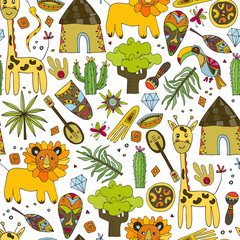 Seamless vector pattern in ethnic style. Africa, Prairie, Savannah. Pattern with African masks, animals, exotic plants.