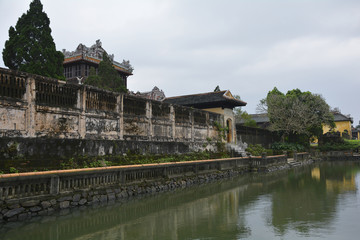 The walls of the Former Thai Binh Pavilion next to Ngoc Dich Lake in the Imperial City, Hue, Vietnam