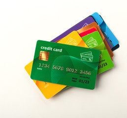 Collection of colourful credit cards isolated