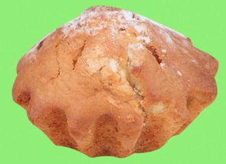 cake bun with sugar dust isolated