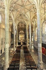 Innenansicht, Santa Maria Kirche, Mosteiro dos Jéronimos, Hieronymus-Kloster, Unesco Weltkulturerbe, Belem Viertel, Lissabon, Lisboa, Portugal, Europa